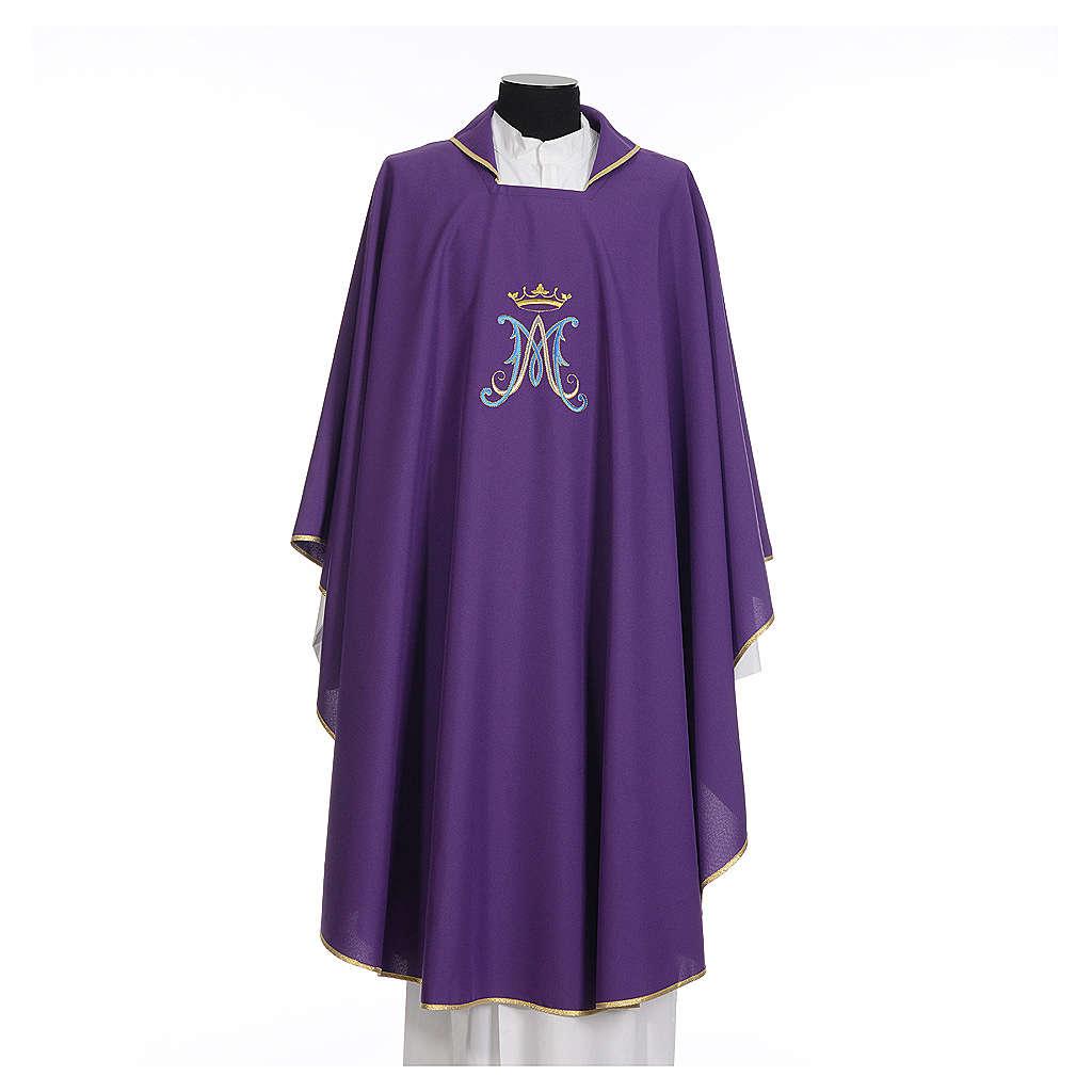 Casula mariana sacerdote poliéster bordado azul ouro 4