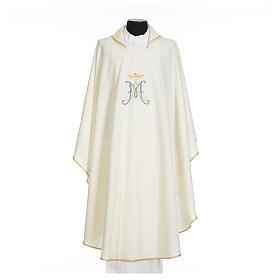 Casula mariana sacerdote poliéster bordado azul ouro s5