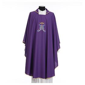 Casula mariana sacerdote poliéster bordado azul ouro s7