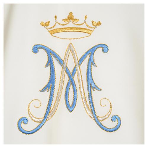 Casula mariana sacerdote poliéster bordado azul ouro 15