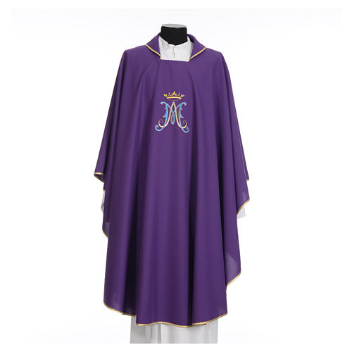 Casula mariana sacerdote poliéster bordado azul ouro 16