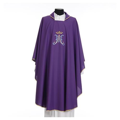 Casula mariana sacerdote poliéster bordado azul ouro 7