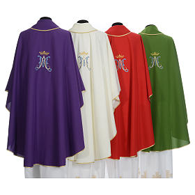 Marian Liturgical Chasuble in polyester with blue and gold embroidery s11