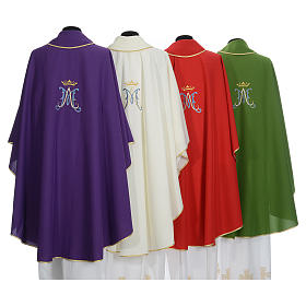 Marian Liturgical Chasuble in polyester with blue and gold embroidery s2