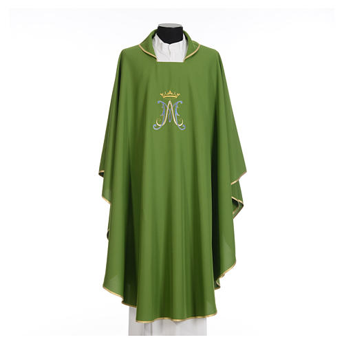Marian Liturgical Chasuble in polyester with blue and gold embroidery 12
