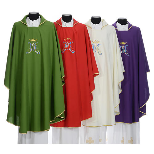 Marian Liturgical Chasuble in polyester with blue and gold embroidery 1