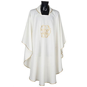 Chasuble liturgique IHS doré polyester s1