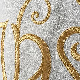 Chasuble liturgique IHS doré polyester s3