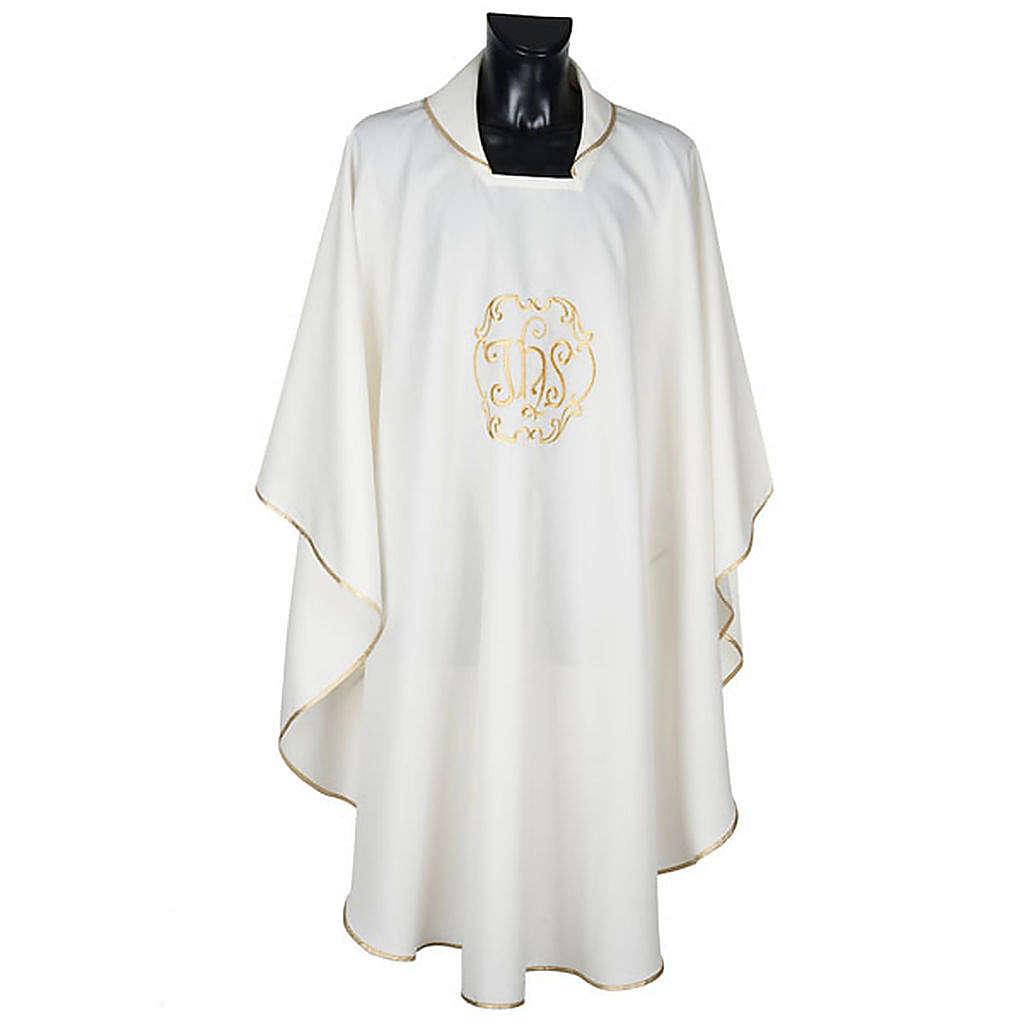 Casula sacerdotale IHS oro poliestere 4