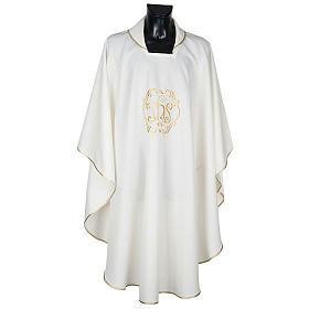 Casula sacerdotale IHS oro poliestere s1