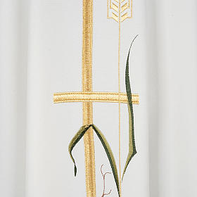 Casula sacerdotale croce lunga dorata uva poliestere s2