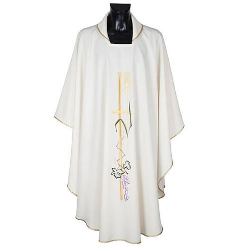 Casula sacerdotale croce lunga dorata uva poliestere 1