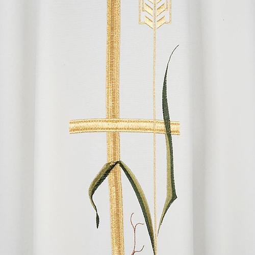 Casula sacerdotale croce lunga dorata uva poliestere 2
