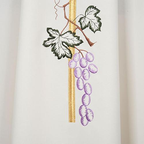 Casula sacerdotale croce lunga dorata uva poliestere 3