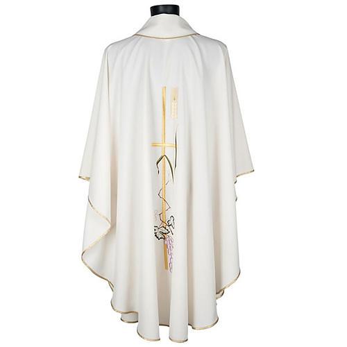 Casula sacerdotale croce lunga dorata uva poliestere 4