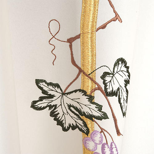 Casula sacerdotale croce lunga dorata uva poliestere 5
