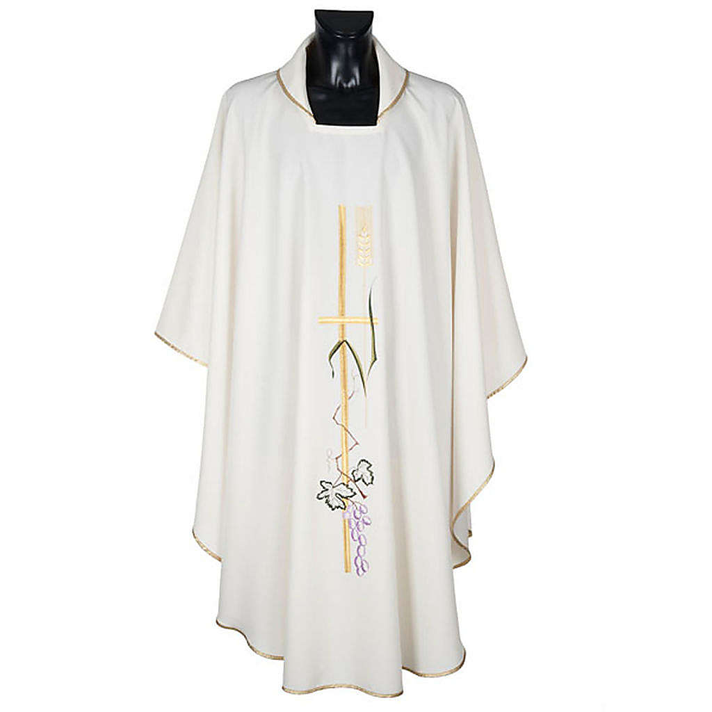 Liturgical vestment in polyester with grapes and long cross 4