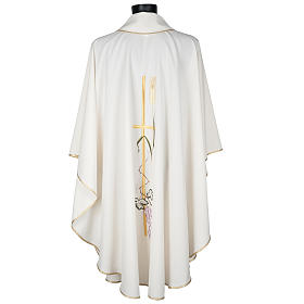 Liturgical vestment in polyester with grapes and long cross s6