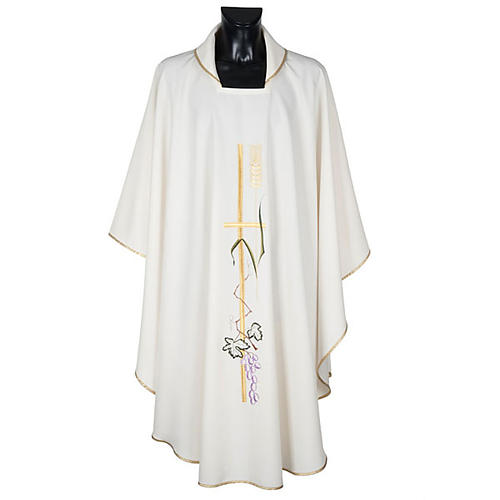 Liturgical vestment in polyester with grapes and long cross 1
