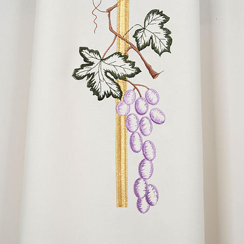 Liturgical vestment in polyester with grapes and long cross 5