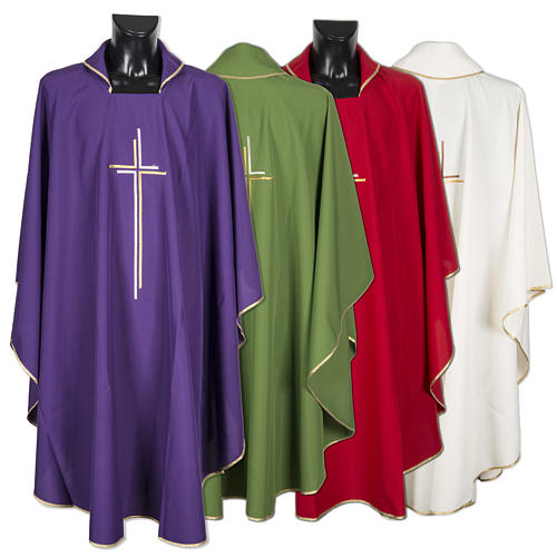Chasuble liturgique croix double polyester 1