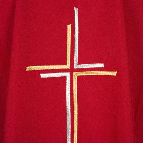 Chasuble liturgique croix double polyester 7