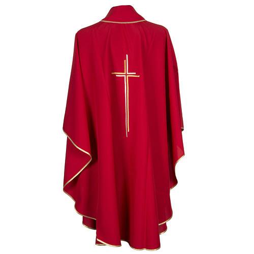 Chasuble liturgique croix double polyester 9