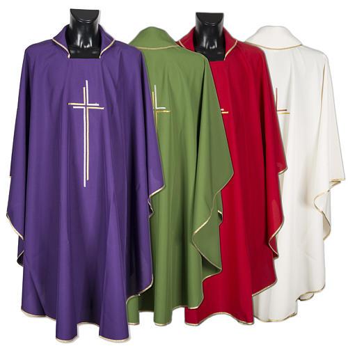 Casula sacerdotale croce doppia stilizzata poliestere 1