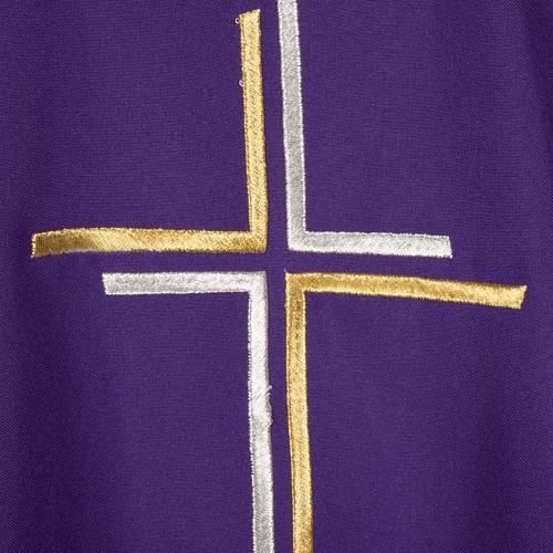 Casula sacerdotale croce doppia stilizzata poliestere 2