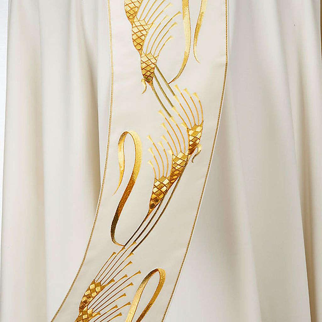 Casula sacerdotale con stolone beige spiga croce oro 4