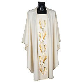 Casula sacerdotale con stolone beige spiga croce oro s1