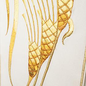 Casula sacerdotale con stolone beige spiga croce oro s2