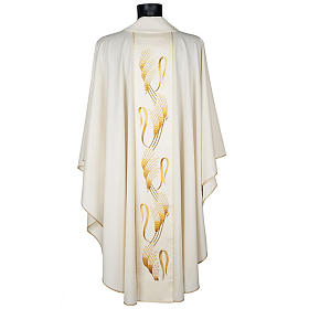 Casula sacerdotale con stolone beige spiga croce oro s3
