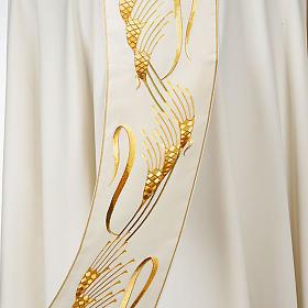 Casula sacerdotale con stolone beige spiga croce oro s4