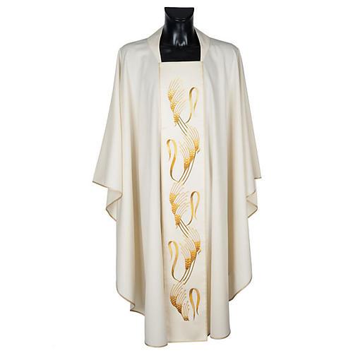 Casula sacerdotale con stolone beige spiga croce oro 1