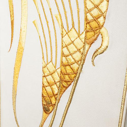 Casula sacerdotale con stolone beige spiga croce oro 2