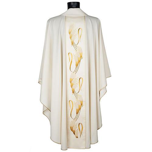 Casula sacerdotale con stolone beige spiga croce oro 3