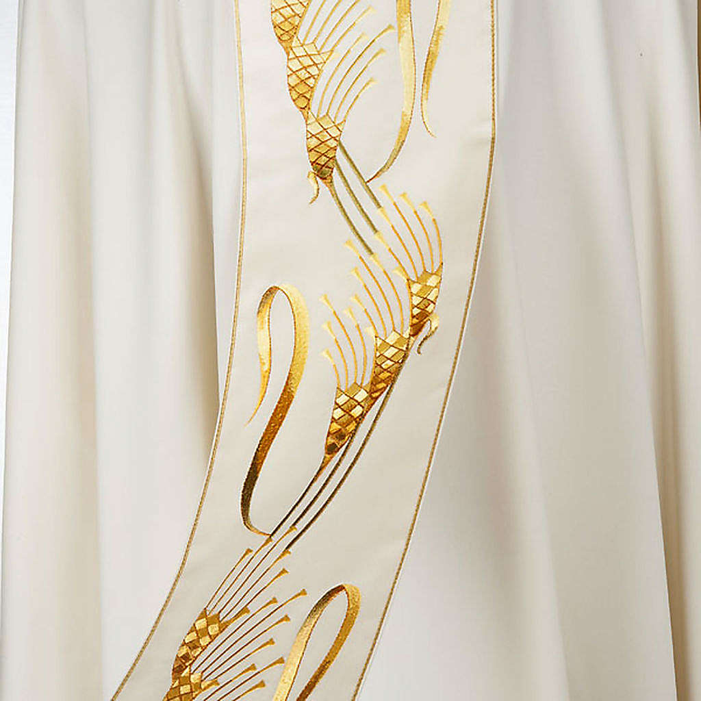 Chasuble and stole, ears of wheat embroidered orphrey 4