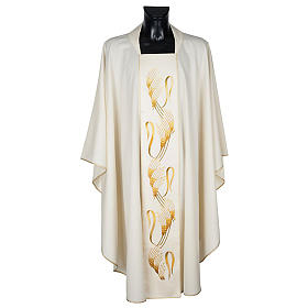 Chasuble and stole, ears of wheat embroidered orphrey s1