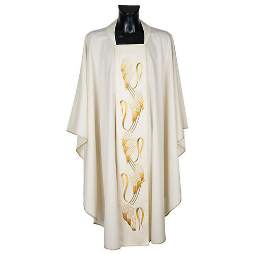 Chasuble and stole, ears of wheat embroidered orphrey 1
