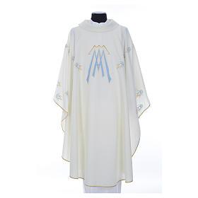 Casula ricamata simbolo mariano poliestere s1