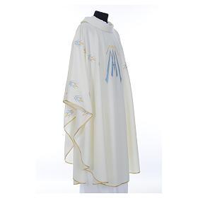 Casula ricamata simbolo mariano poliestere s4
