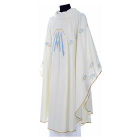 Casula ricamata simbolo mariano poliestere s6