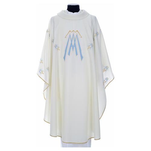 Casula ricamata simbolo mariano poliestere 5