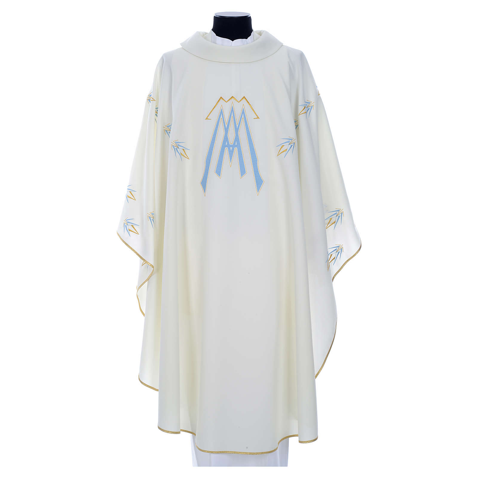 Catholic Chasuble in polyester with Marian symbol embroidery 4