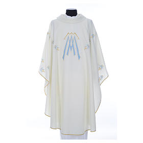 Catholic Chasuble in polyester with Marian symbol embroidery s1