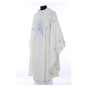 Catholic Chasuble in polyester with Marian symbol embroidery s2