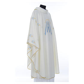 Catholic Chasuble in polyester with Marian symbol embroidery s4