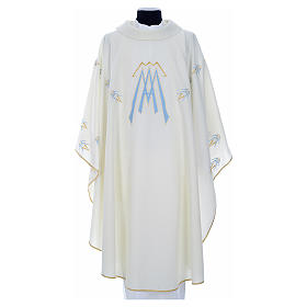 Catholic Chasuble in polyester with Marian symbol embroidery s5