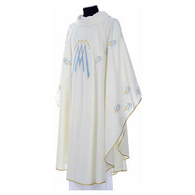 Catholic Chasuble in polyester with Marian symbol embroidery s6